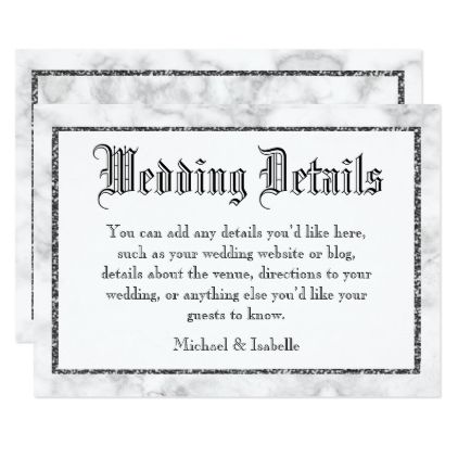 Marble Silver Framed Wedding Details Card - glitter gifts personalize gift ideas unique