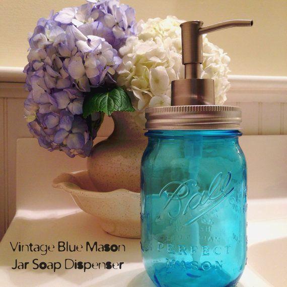 vintage blue mason jar soap dispenser 100 yrs of. Black Bedroom Furniture Sets. Home Design Ideas