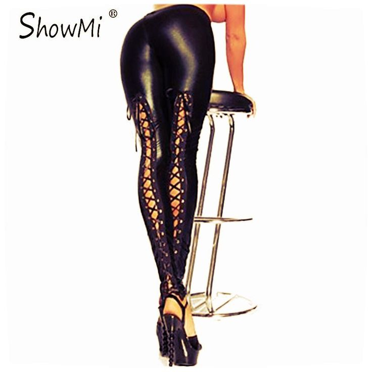 Women's Faux Leather Back Laced Black Leggings