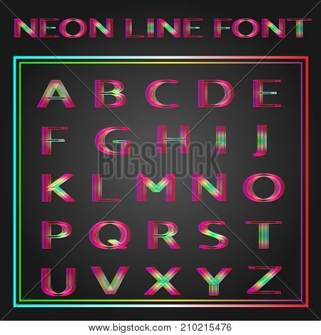 A set of A-Z uppercase vector neon lined font. EPS 8 vector