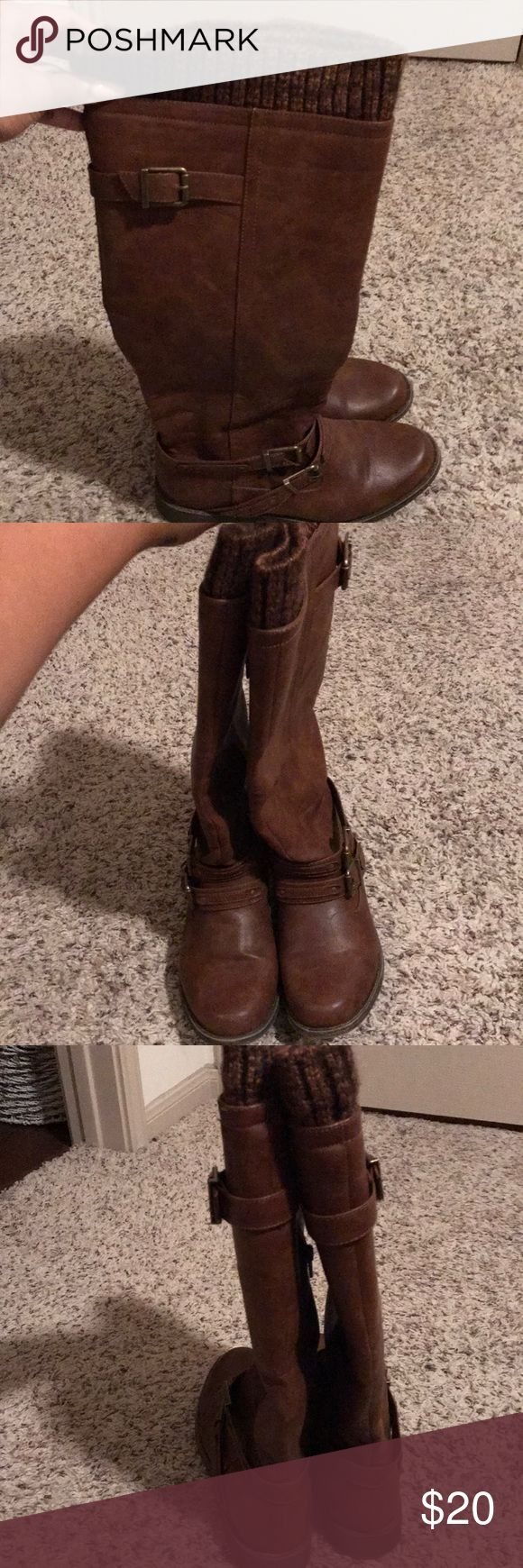 Brown Boots👢👢 These warm brown boots have sweater material to keep your legs warm! Super comfy and perfect for women with big calves (like me)🙋🏽♀️   Make an offer!! Shoes