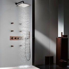 "Phasat? Thermostatic Orb Finish Shower Tap Set, 12"" Rainfall Shower Head And Spa Body Massage Spray Jets"