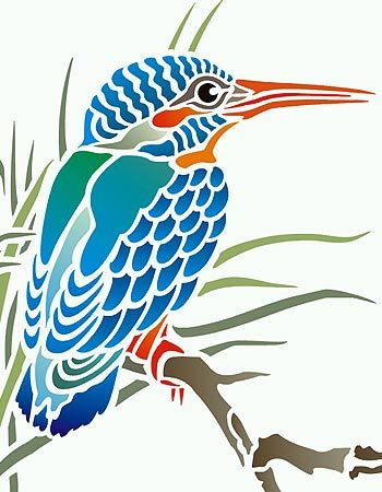 Kingfisher Bird Stencil