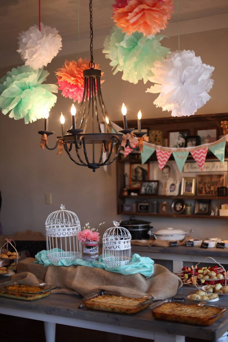 Coral and Mint baby shower brunch