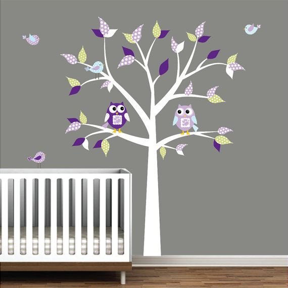 Nursery Wall Decals with Owls Birds Pattern by Modernwalls on Etsy, $99.00