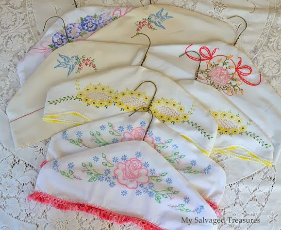 Salvaged and Repurposed Pillow Cases, plus tutorial for clothes hangar covers