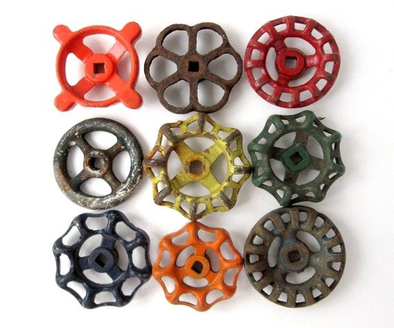 Hose spigots for drawer pulls - cute, @Kaylee Score Score Sisoukrath, this might be a cute idea for your dresser.... :)