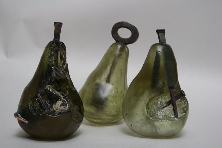 Cast Glass with metal inclusions by Kim Logue