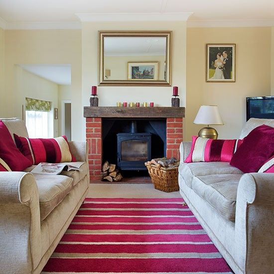 Traditional Living Room With Pink Accents