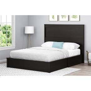 Create a statement piece in your bedroom with the Ameriwood Home Crescent Point Queen Sized Bed and Headboard. This platform bed frame and headboard come in a convenient bundle pack to make purchasing your dream bed easy. The bed frame supports up to 600lbs. with its strong wooden slats and eliminates the need for a box spring. Bed frame fits most standard sized queen mattresses - not included. The Headboard has predrilled holes to easily attach to the bed's frame for the perfect finishin...