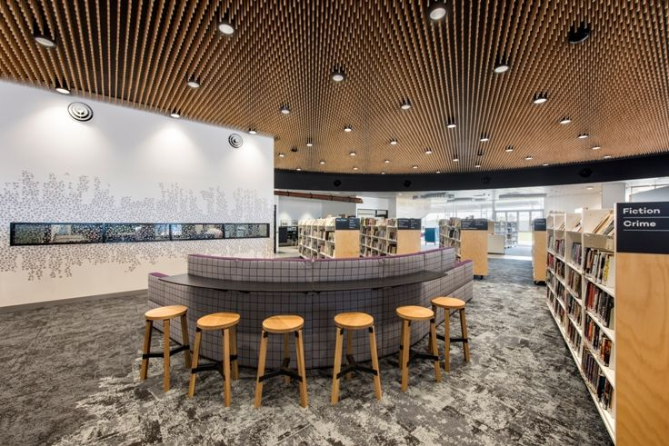 Aldinga Library 📚  Key-Lena Palette Series Ebony with 195mm pine Dowels Architect: Brown Falconer Builder: SHAPE Group Photography: David Sievers Photography