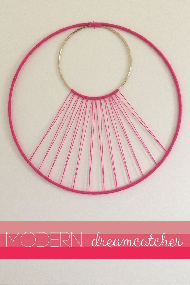 Modern Dreamcatcher DIY by Being Spiffy. Make this fun modern wall hanging with just one Lion Brand Bonbon and this free easy to follow tutorial. With 8 different colors per pack, why not make one for a friend too?