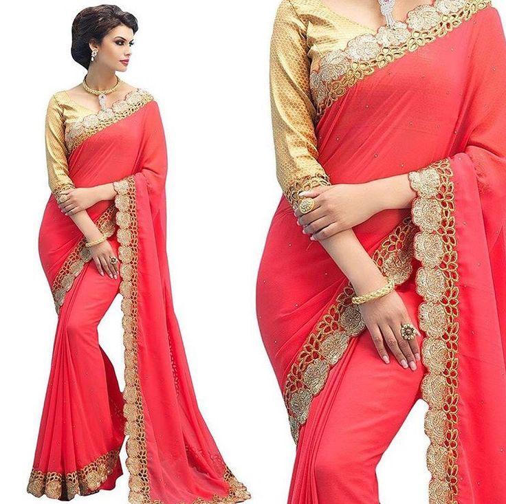 Coral Pink Bollywood Saree Indian Dress