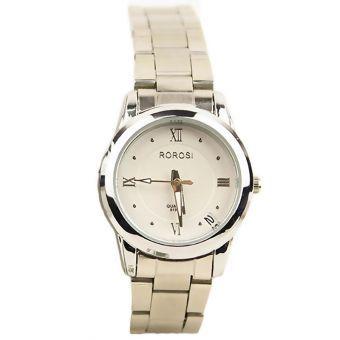 Reloj Moda Acero Inoxidable Cuarzo Fecha Blanco