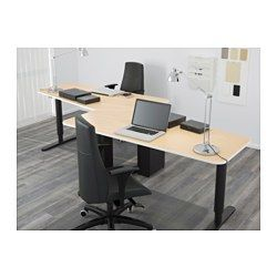 BEKANT 5-sided desk, sit/stand - birch veneer/black - IKEA