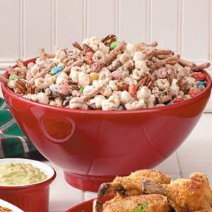 ~White Chocolate Party Mix~ my favorite! Uses popcorn, frosted cheerios, pretzels, peanuts, M & M's and brickle, all tossed with melted white chocolate! YUMMY and makes a bunch - 9 1/2 quarts! VBS, youth group, scouts, or package for gifting along with the recipe...