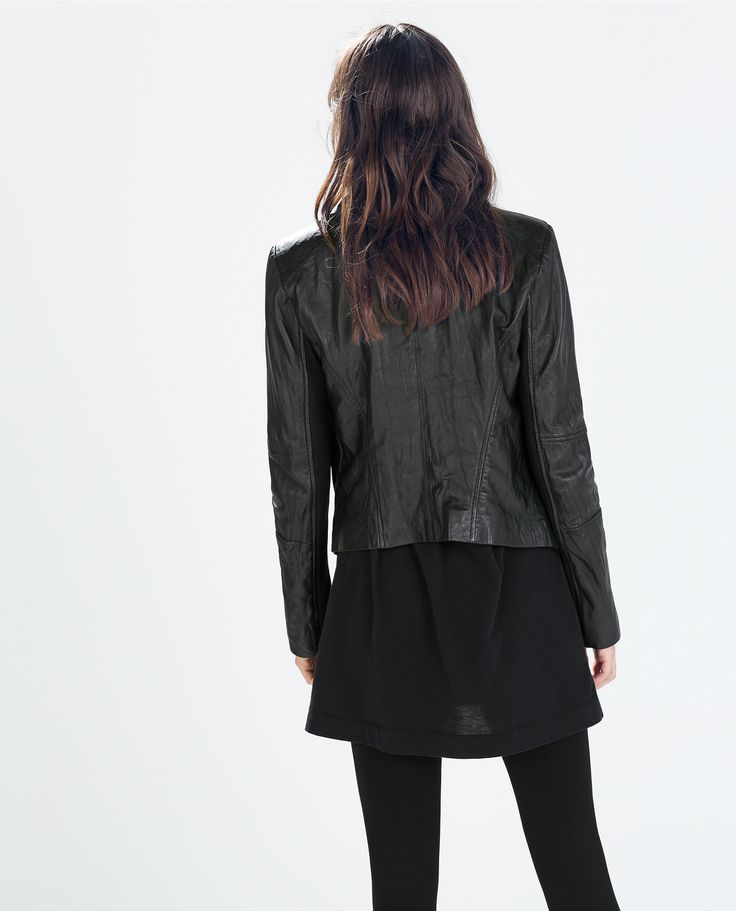 Image 4 of LEATHER JACKET WITH POINTED HEM from Zara