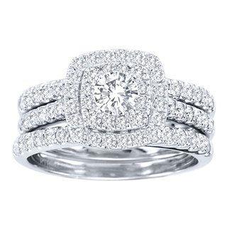 de couer 10k white gold 1 12 ct tdw diamond halo engagement ring set by de couer