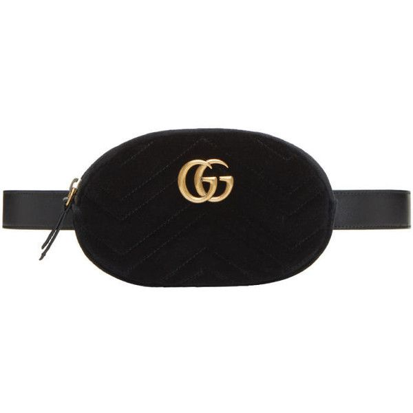 adcb8dbf41b6 Gucci Black Velvet GG Marmont Matelassé Belt Bag ($945) ❤ liked on Polyvore  featuring bags, black, waist pouch bag, waist bags, quilted …