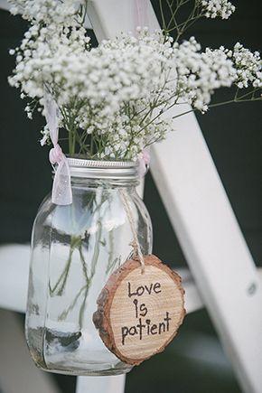 Mason Jar Wedding A Rustic Burlap Filled With Hearts