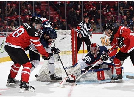 MONTREAL, CANADA - DECEMBER 26: Canada's Lawson Crouse #28 battles for a loose puck with Slovakia's Christian Jaros #26 during preliminary round action at the 2015 IIHF World Junior Championship. (Photo by Richard Wolowicz/HHOF-IIHF Images)