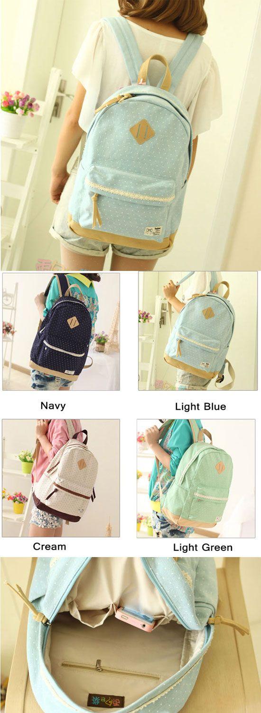 A super cute school backpack! Fresh Trunk Dot Lace Backpack from atwish.com. #backpack #school #dot #lace #rucksack #cute #bag #girl