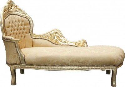 Casa Padrino Barock Chaiselongue Mod2 Gold Muster/Gold Linke Seite - Barock Möbel Chaiselongues