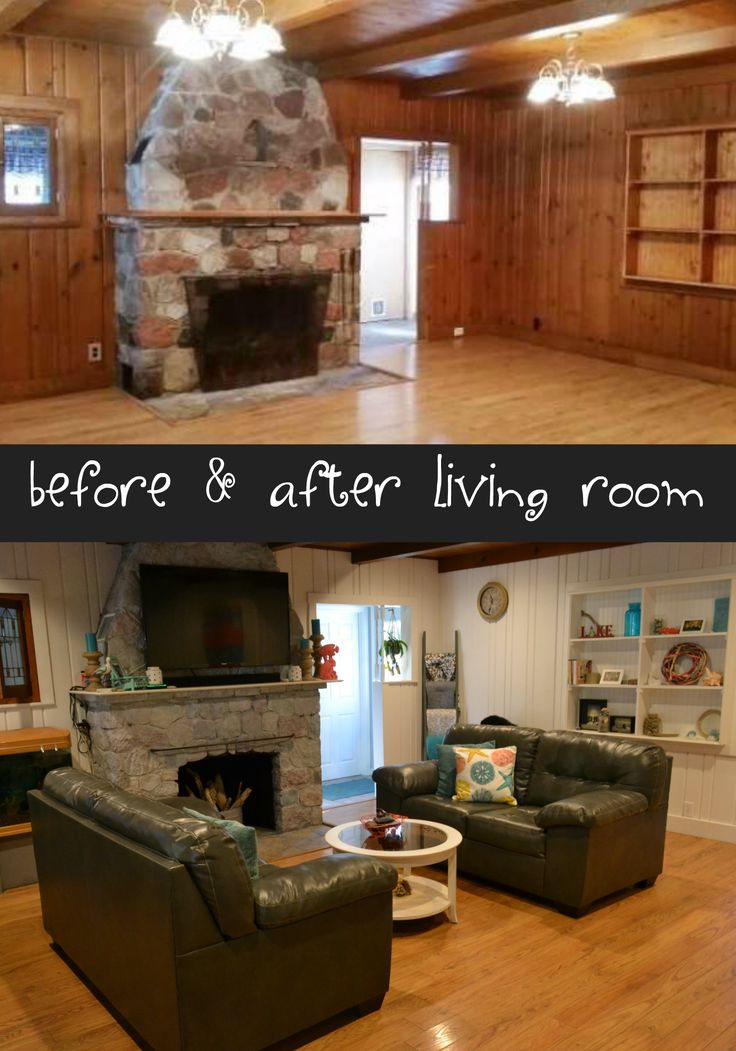 Before and after living room remodel.  Coastal living room remodel.  Painted wood paneling, wood floors and a white washed stone fireplace.  Beautiful!  www.CrazyDiyMom.com