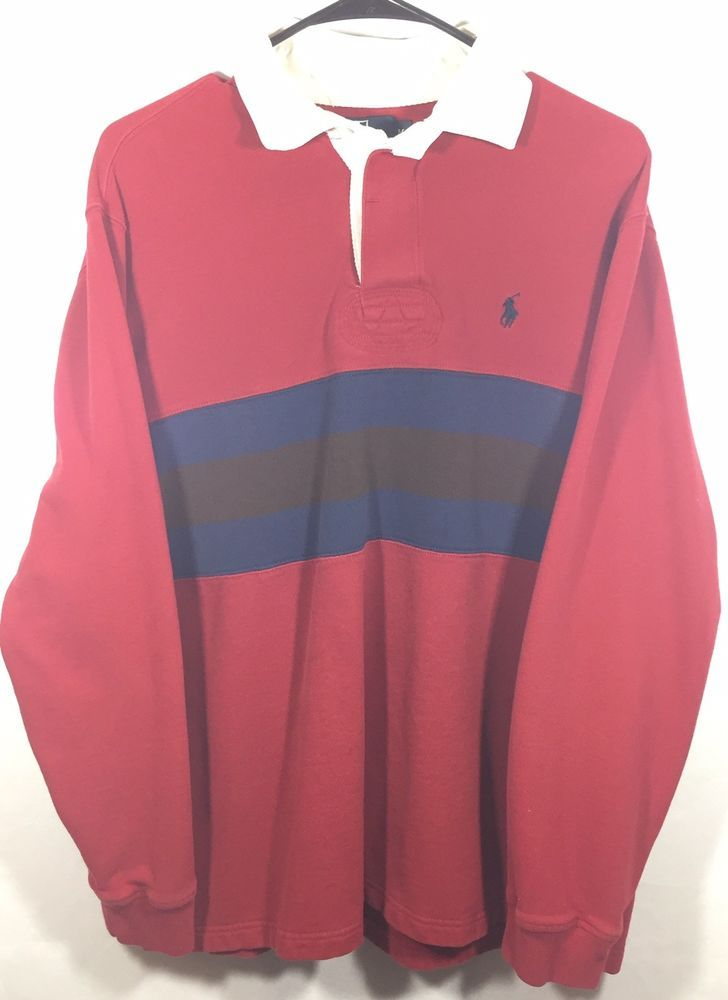 854be821820f Size Medium Vintage 90's Polo Ralph Lauren Red Striped Color Block Rugby T  Shirt | eBay