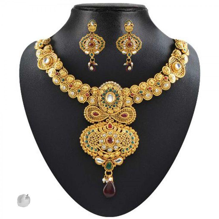 Kundan Red & Green Pota & Austrian Stone Drop Gold Finish Necklace Sets