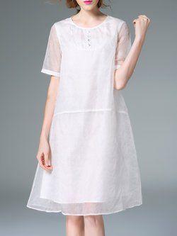 White Short Sleeve See-through Look Midi Dress