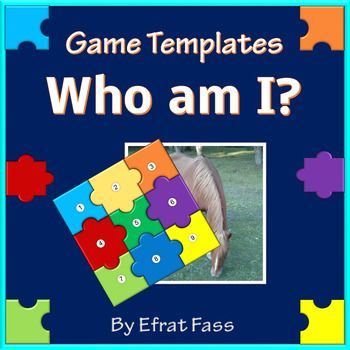 """* Who am I """" is a puzzle game template , designed especially for teachers, helping to reveal a new topic, summarize a theme, engaging students  in  a fun way. *The templates were designed in PowerPoint software and are suitable for 2010  version and beyond. *Includes 9 game templates with different number of questions to reveal the image:  4, 6 or 9 questions. *Includes one ready example! *The templates are simple to use and operate: just insert the image and cover with the puzzle pieces…"""