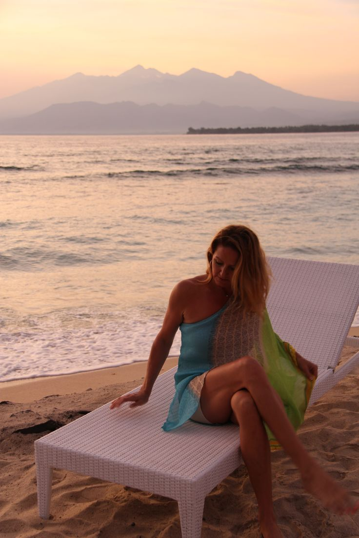 Beach lounging in Brights, TK Goddess dress.