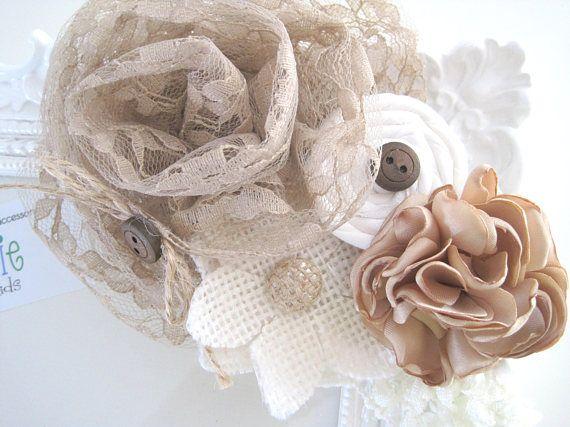 accessorio di shabby chic capelli di colore naturale con fiori