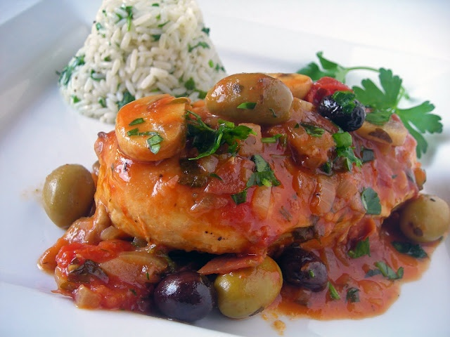 Chicken Marengo - the famous French dish invented by Napoleon's  battlefield chef to celebrate his success in Italy in 1800.