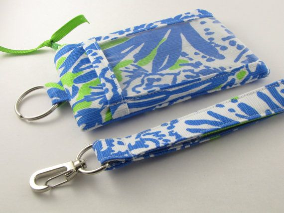 Lilly Pulitzer fabric ID Wallet Lanyard Student by PreppyCreations
