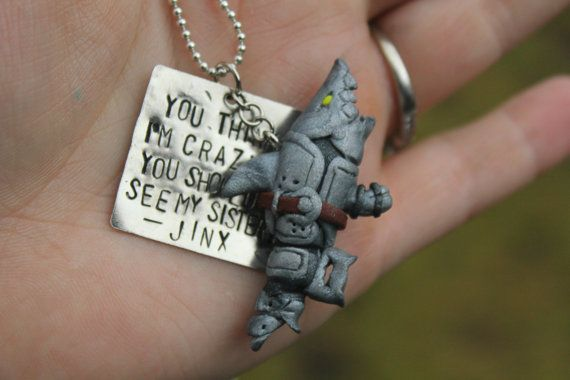 Hand Stamped Jinx Sisters Quote and Handmade Fishbones Pendant Necklace or Keychain Inspired by League of Legends on Etsy, £7.98