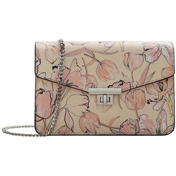 MANGO Floral print bag (240 DKK) ❤ liked on Polyvore featuring bags, handbags, pastel pink, brown purse, pastel purse, mango handbags, pink handbags and floral print purse