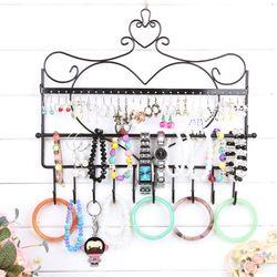 Online Shop Hierro forjado pavanas murales pendientes marco de almacenamiento de la joyería estante porta collar de accesorios pendiente del perno prisionero de la tela escocesa Expositor|Aliexpress Mobile