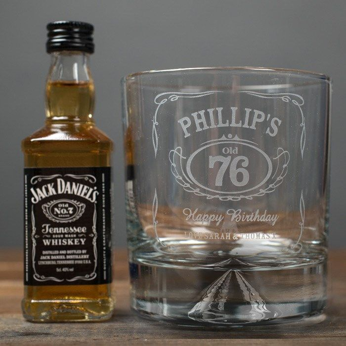 Personalised Birthday Whisky Tumbler and Jack Daniels Miniature | Engraved Gifts by Getting Personal