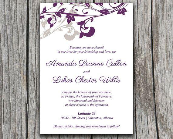 Wedding Invitation Template - DIY Invitation Eggplant Purple - microsoft invitation templates