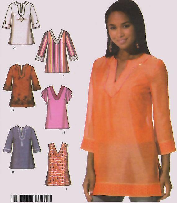 Misses BOHO túnica costura patrón - 5 tamaños - OOP túnicas