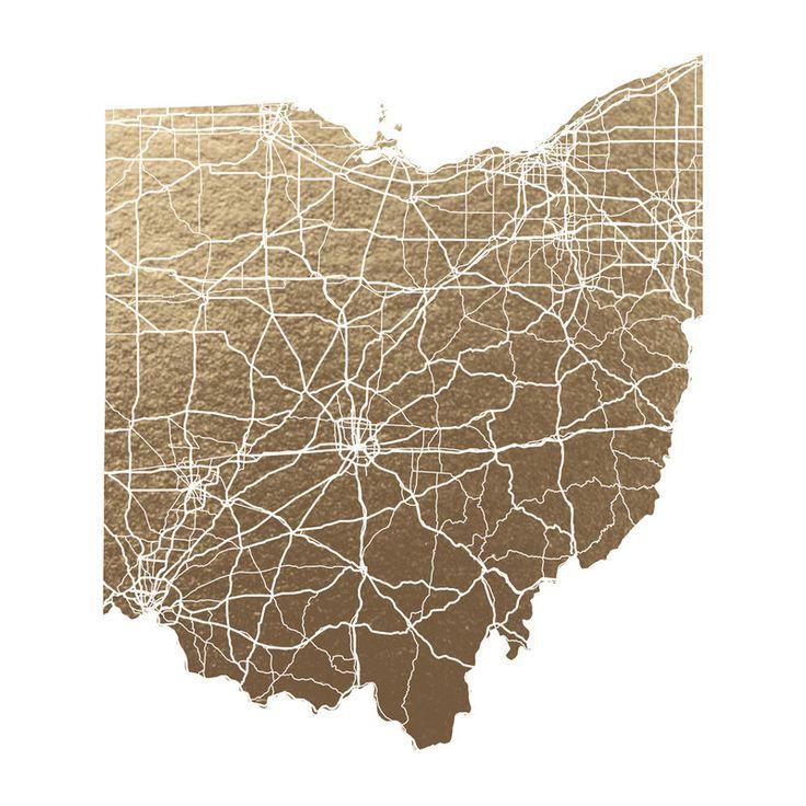 Louisiana Deer Map%0A Ohio Map FoilStamped Wall Art by GeekInk Design   Minted