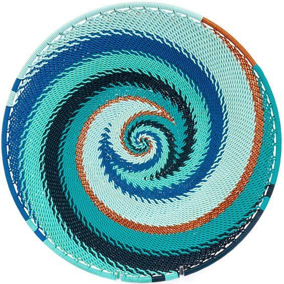 African Basket - Zulu Wire - Shallow Bowl #36467