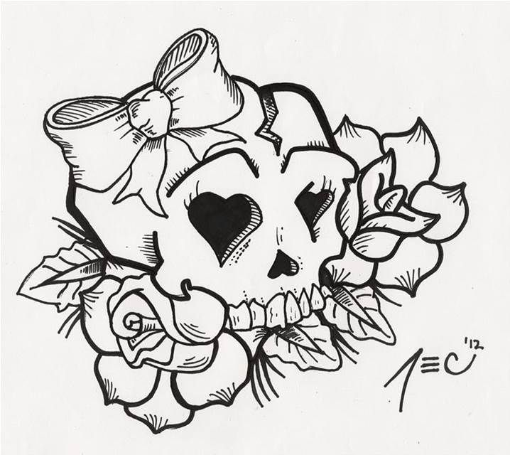 Girly Sugar Skull Coloring Pages
