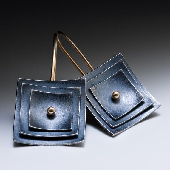 Mod layered square earrings in oxidized sterling silver