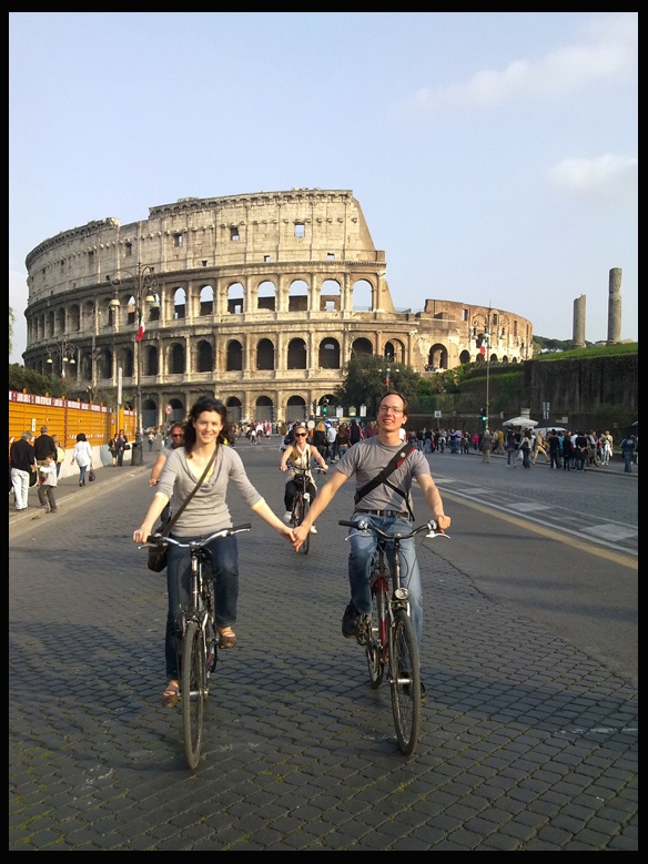 Riding Bike in the Imperial Forum Street