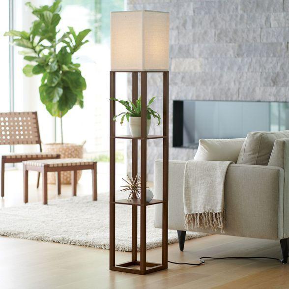 Shelf Floor Lamp Brown Threshold In 2020 Floor Lamp With Shelves Floor Lamps Living Room Lamps Living Room