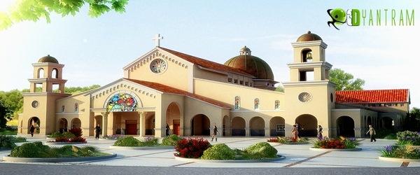 3d church building exterior rendering design studio for Church exterior design
