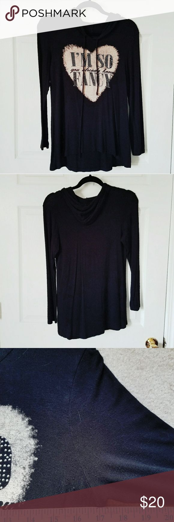 "I'M SO FANCY Hooded Tee Shirt M I'm so fancy you already know.  Lyrics made famous by Iggy Azalia suit you perfectly.  Black super soft cotton T with a hood.  Like new.  Unbranded.   Pit to pit 17"", shoulder seem to sleeve 21"", collar to hem 24.5"".    +300+ item closet to shop  +No Trades Unbranded  Tops Tees - Long Sleeve"